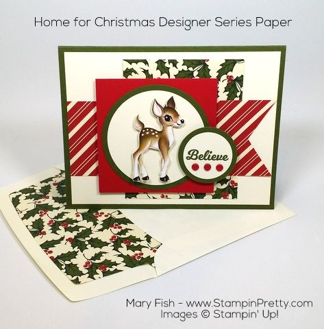 Nostalgic patterns from Home for Christmas Designer Series Paper are the foundation of this holiday card - designed by Mary Fish, Independent Stampin' Up! Demonstrator.  Details, supply list and more card ideas on http://stampinpretty.com/2015/11/home-for-christmas-offers-a-nostalgic-twist.html