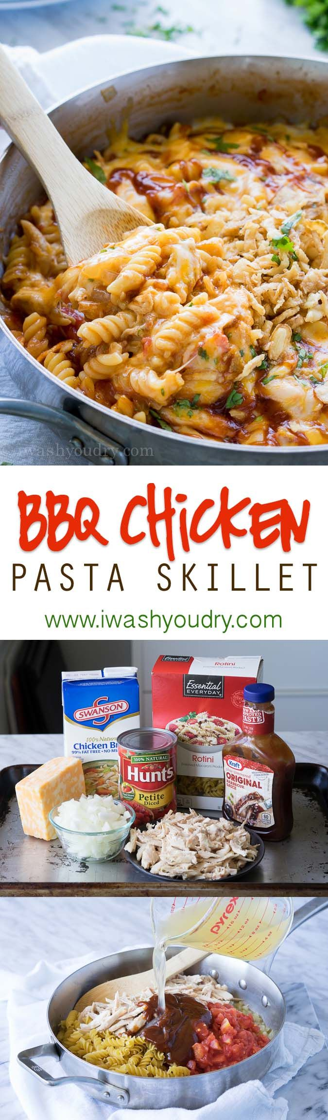 This cheesy one skillet BBQ Chicken Pasta is so easy to make! The pasta cooks in the skillet!