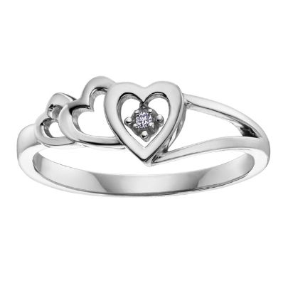 9ct White Gold Diamond 3x Open Heart Ring CH406WG-10 from The Jewel Hut Collection at £110.00