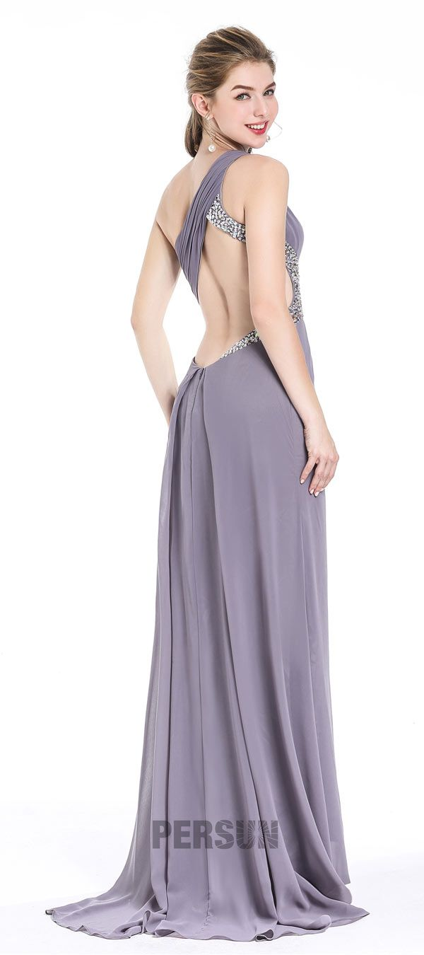 Sexy Robe de soirée grise dos nu asymétrique 2018 : un dos largement dénudé avec une traîne gracieuse dans la couleur sophistiquée, ça vous tente ?