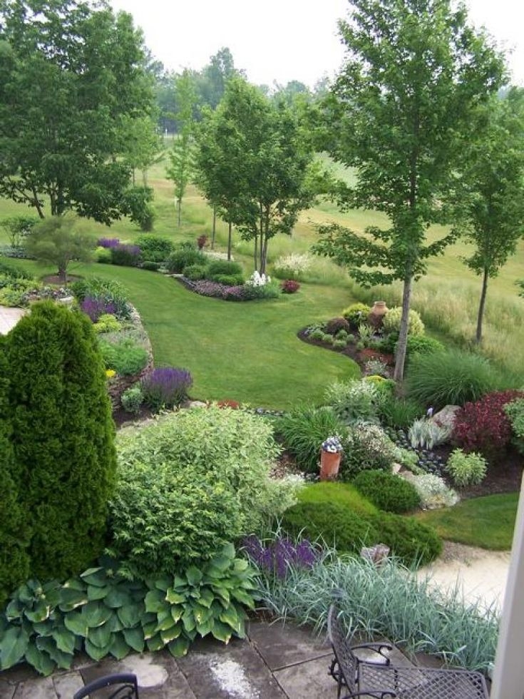 This is photographed from my neighbors window looking across the yard and gardens. The patio and house are on the left from this angle.