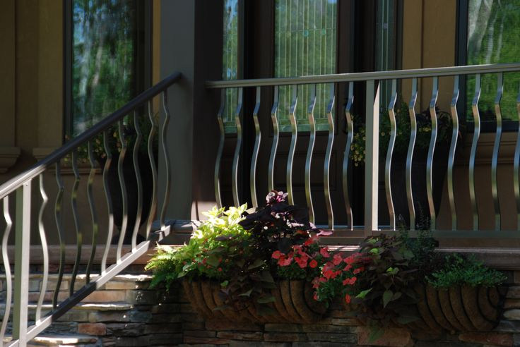 """RailingWorks bronze picket belly railings with 2"""" post ..."""