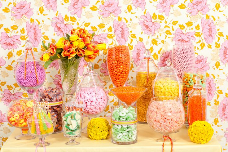pink yellow and orange candy buffet