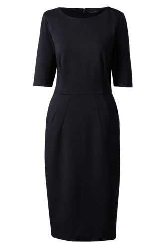 Women's+Elbow+Sleeve+Ponte+Sheath+Dress+from+Lands'+End
