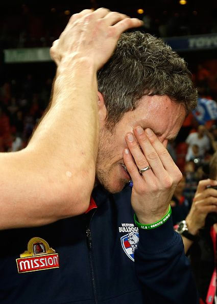 Robert Murphy of the Bulldogs sheds a tear during the 2016 AFL First Preliminary Final match between the GWS Giants and the Western Bulldogs at...