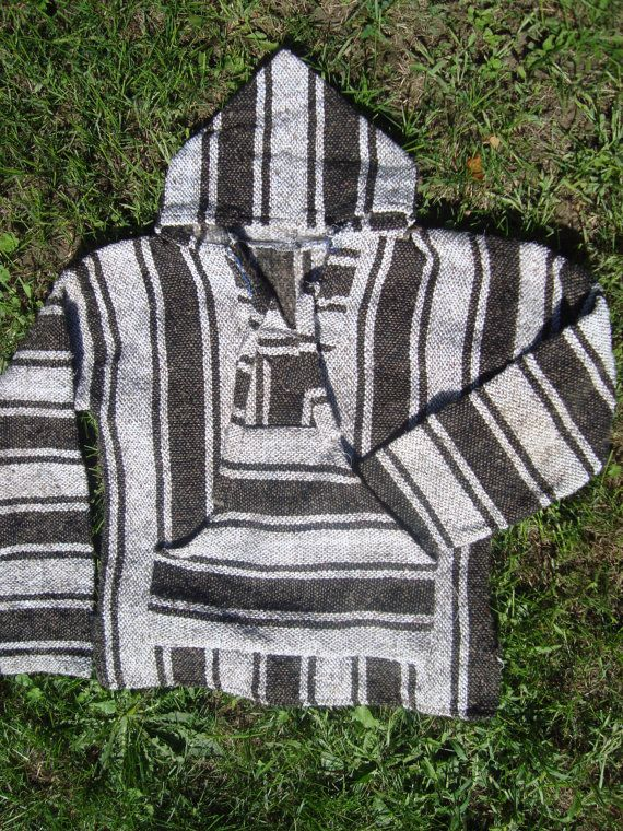 90s Baja Jacket Hoodie Black and Grey Vintage Drug Rug 90s