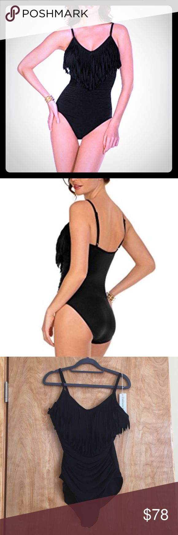 Magicsuit by Miraclesuit Swimwear Fringe Blair 12 Magicsuit by Miraclesuit Swimwear Fringe Solid Blair One Piece-Black-size 12 NWT retail $168 Features 95% polyester, 5% spandex Underwire Magicsuit black fringe solids blaire underwire one piece swimsuit with detailed overlay at the bust enhances while side shirring drastically slims your shape. Neckline and hidden underwire combine modern chic with full support. E. For compression fit, purchase normal clothing size. For comfort fit, purchase…