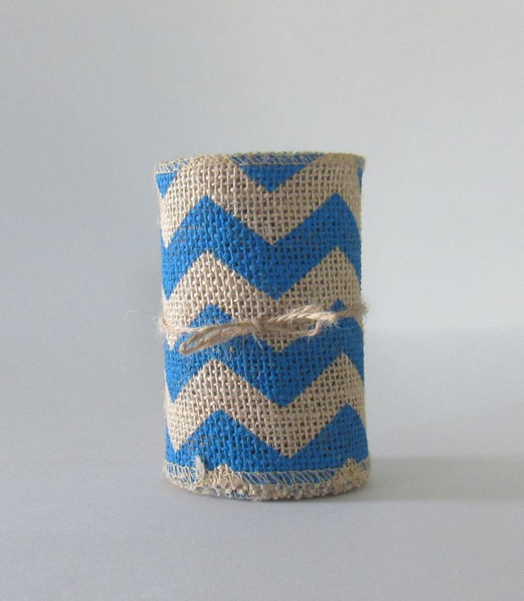 """Burlap Ribbon, Burlap Ribbon with Blue Chevrons, Wreath Bows, Rustic, Natural, 4"""" wide x 10 ft, Craft Ribbon, Floral Ribbon, Garland, Accent - pinned by pin4etsy.com"""
