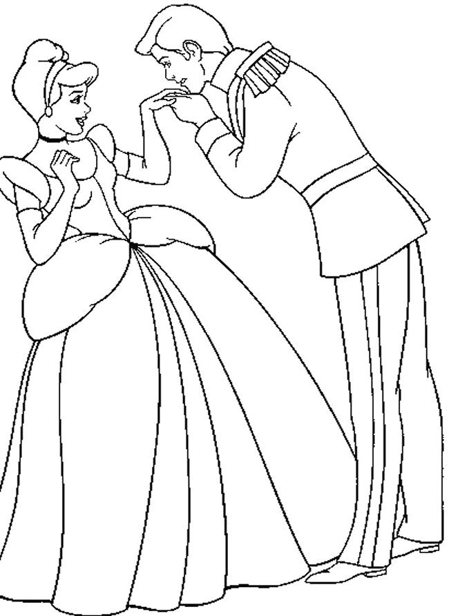 the prince kissing the hand of cinderella coloring pages cinderella car coloring pages
