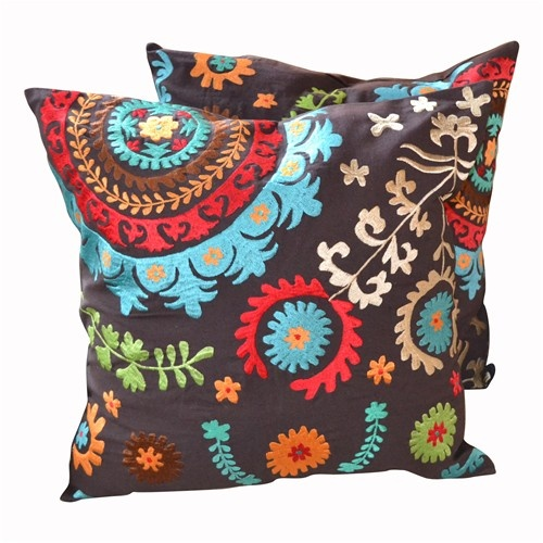 Pair of Dark Brown Suzani Embroidered Pillows