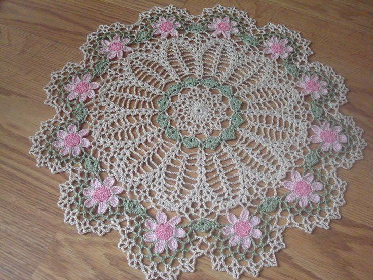 New Handmade Circle of Pink Daisies Crochet Doily