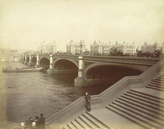 Westminster bridge, London, UK....photo taken c.1875