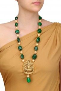 Gold Finish Temple Pendant Necklace