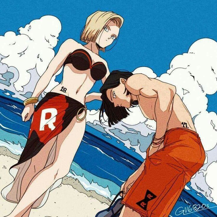 Android 17 and 18 in the beach