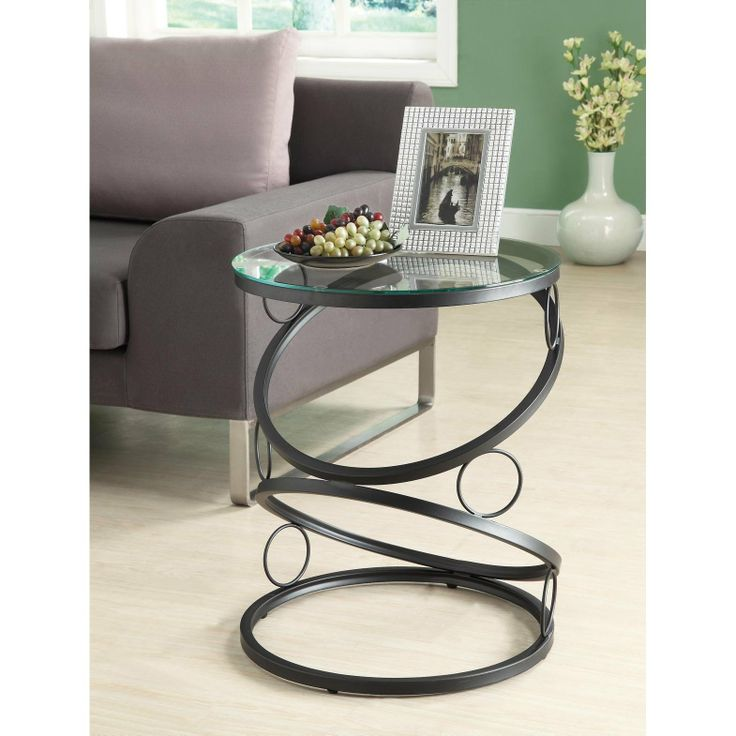 Furnituremaxx Matte Black Metal Accent Table With Tempered Glass : End  Tables