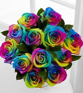 Rainbow Rose Bouquet -