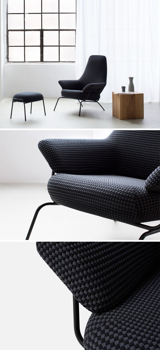 """The Hai lounge chair marries Scandinavian lightness with Italian flair. Light metal legs are complemented by luxurious circular-knitted upholstery. Designed by Luca Nichetto for Hem. Hai is one of our top sellers. Enjoy 15% off sitewide at Hem until June 30, 2015 by clicking to visit Hem from this Pin (Click """"visit site"""" from web, or just click the image from mobile)."""