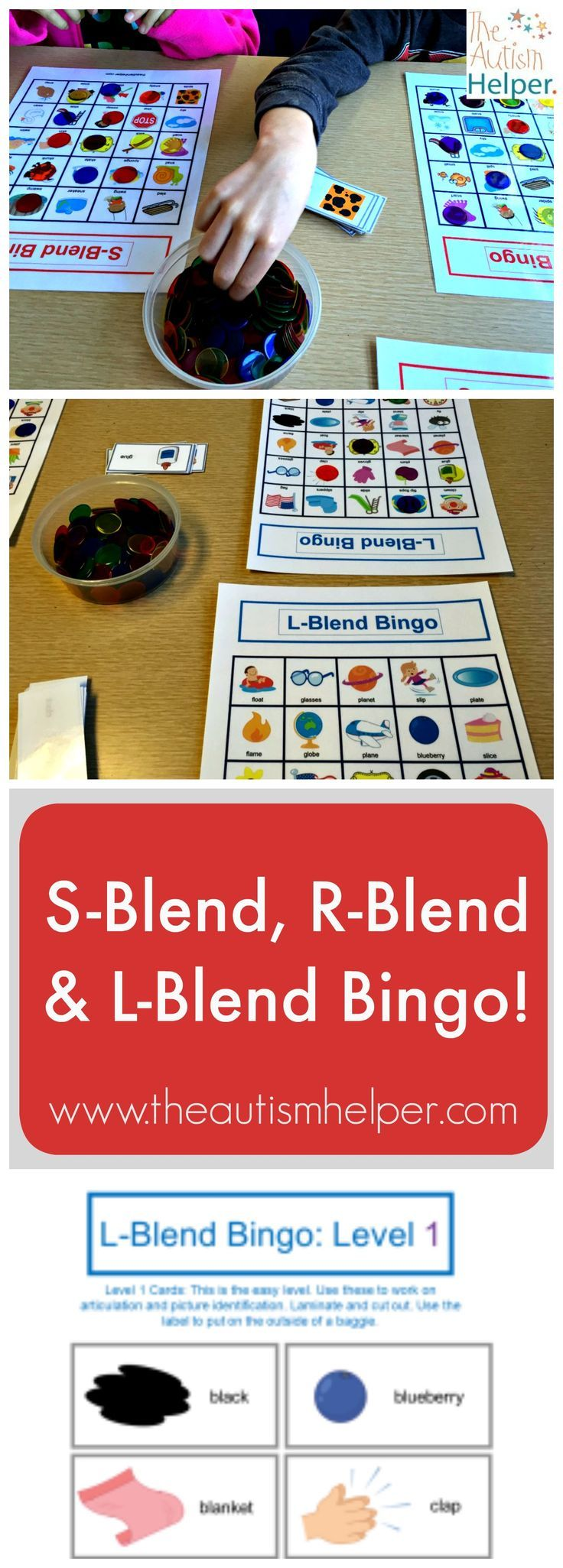 S-Blend, R-Blend & L-Blend Bingo is a great resource built with engaging target words & pictures to work on building vocabulary skills or identifying blends in words with your students. Thank you Sarah the Speech Helper! From theautismhelper.com.