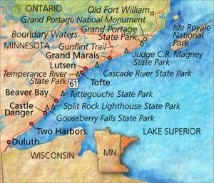 This Lake Superior North Shore map is an easy way to plan your north shore trip with stops at towns along the way and some of Minnesota's most beautiful state parks.