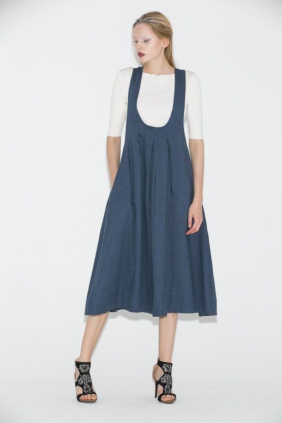 Blue Pinafore Dress  Casual Everyday Linen Modern by YL1dress