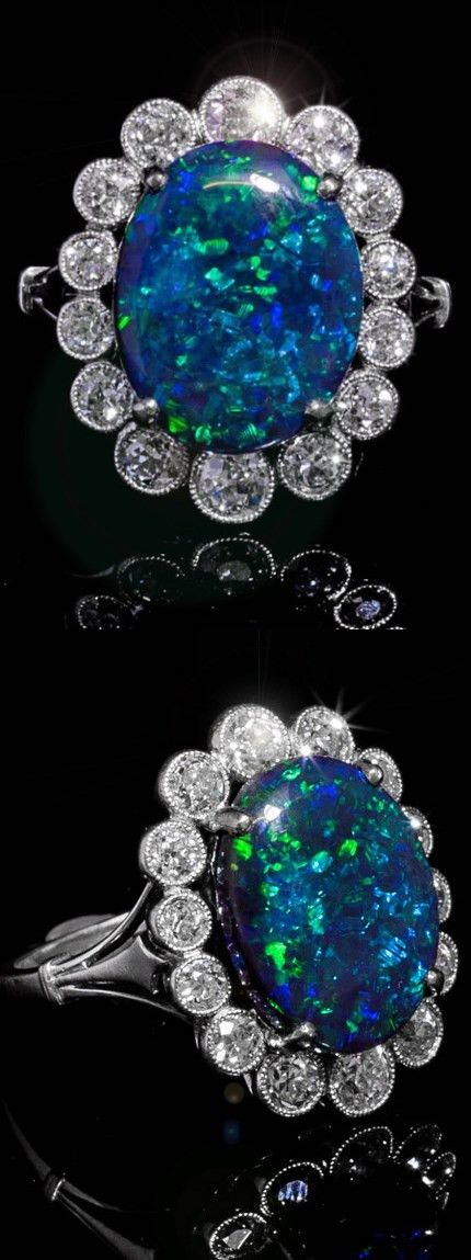 Art Deco platinum, diamond and black opal from Australia, ca 1920.
