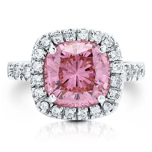 """Коктейльное кольцо на правую руку """"Розовое"""" из стерлингового серебра с цирконом CZ огранки """"подушка"""" UAH 663.43"""