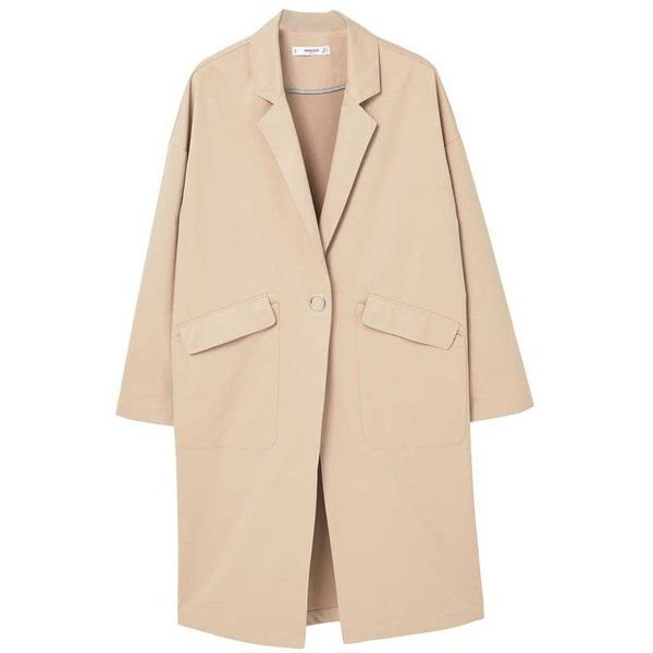 MANGO Printed message trench (£62) ❤ liked on Polyvore featuring outerwear, coats, mango coats, beige trench coat, lapel coat, trench coat and beige coat