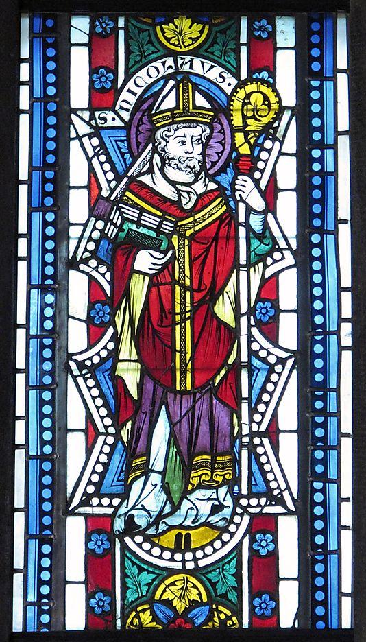 Saint Nicholas stained glass portrait