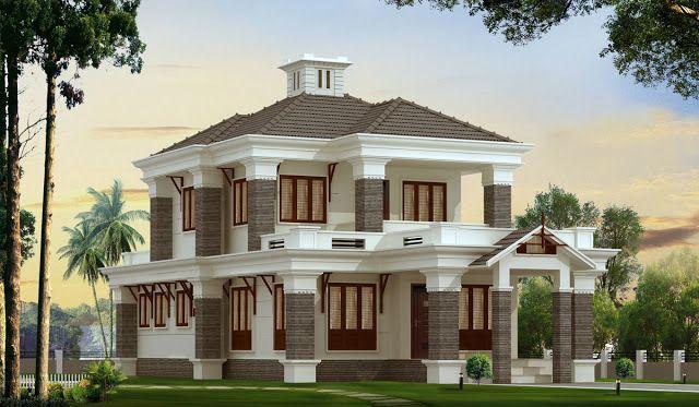Bungalow style kerala home exterior design at 2300 for Exterior design of bungalows