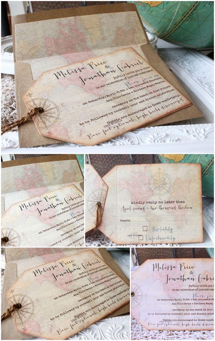 Vintage World Map & Compass Hinged Tag Wedding Invitation: travel destination weddings | Sunshine and Ravioli