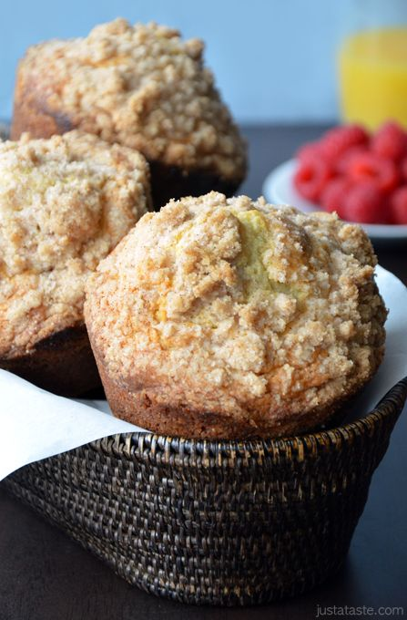 Sour Cream Coffee Cake Muffins with Streusel #recipe on justataste.com