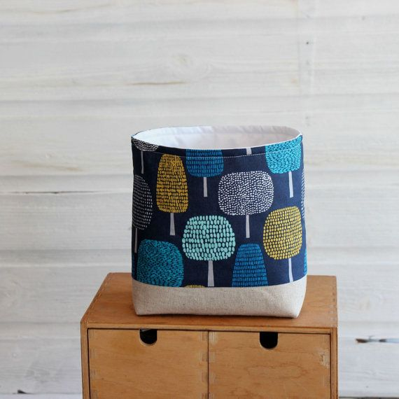 Fabric Storage Basket Trees On Navy