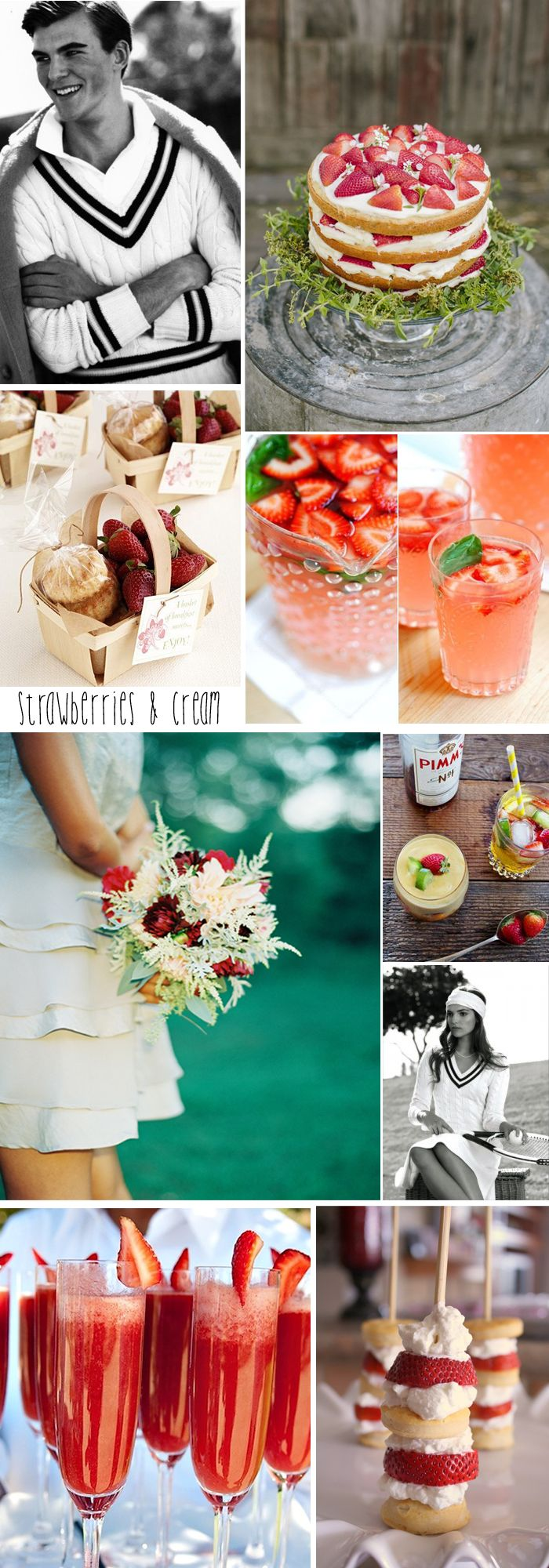 Strawberries & Cream, a Wimbledon themed wedding inspiration board www.agoodoldkneesup.com