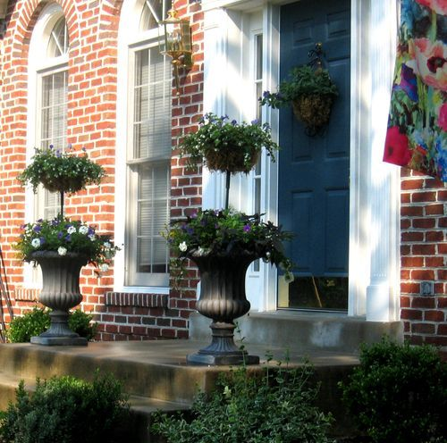 peacock blue with red brick!: Outdoor Plants, Blue Doors, Blue Front Doors, Fruit Baskets, Porches Crop, Inspiration Outdoor, Outdoor Idea, Front Porches, Peacocks Blue