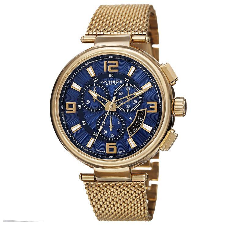 Akribos Xxiv Men's Swiss Quartz Chronograph Stainless Steel Mesh Gold-Tone Bracelet Watch