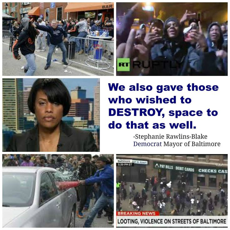 "Former mayor Stephanie Rawlings-Blake :""We also gave those who wished to destroy space to do that as well,""  Following the death of Baltimore resident Freddie Gray while in police cust…"