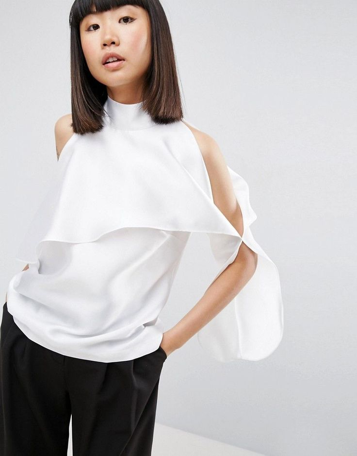 Buy it now. ASOS WHITE Sleeveless Frill Tunic Top - White. Top by ASOS WHITE, Smooth woven fabric, High neck, Cut-out detail, Relaxed fit, Machine wash, 100% Polyester, Our model wears a UK 8/EU 36/US 4. This season sees ASOS WHITE rummaging through the art-room paintbox for its colour-block grid prints and limited-edition collection. While silhouettes are kept simple, tailored separates and T-shirt dresses go all clean-lined in crisp cotton, silk and organza. , vestidoinformal, casual…