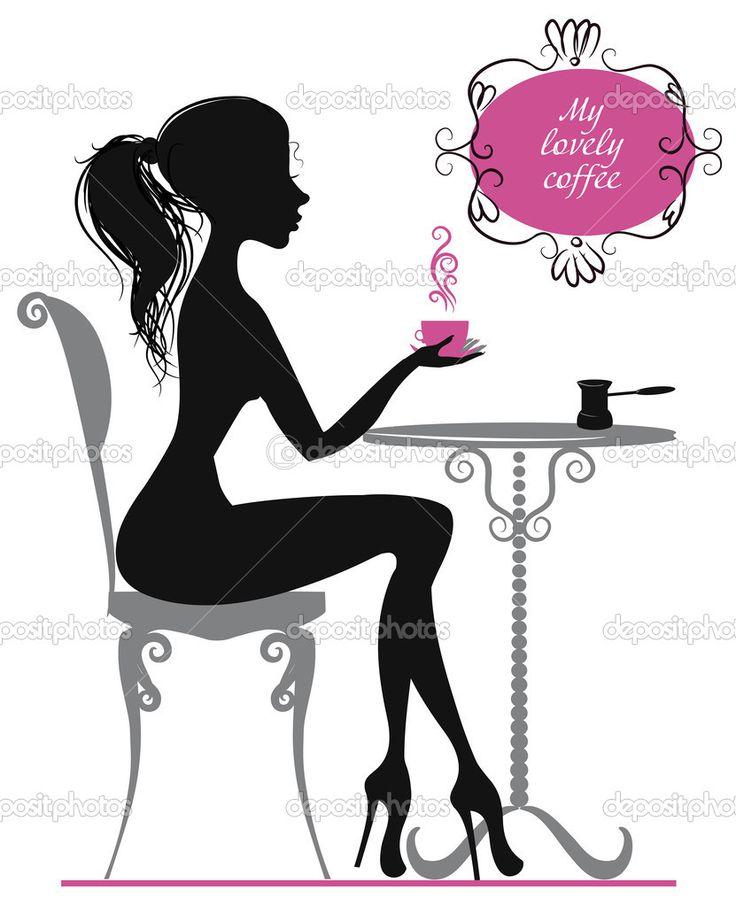Девочка с чашкой кофе — стоковая иллюстрация #53512409