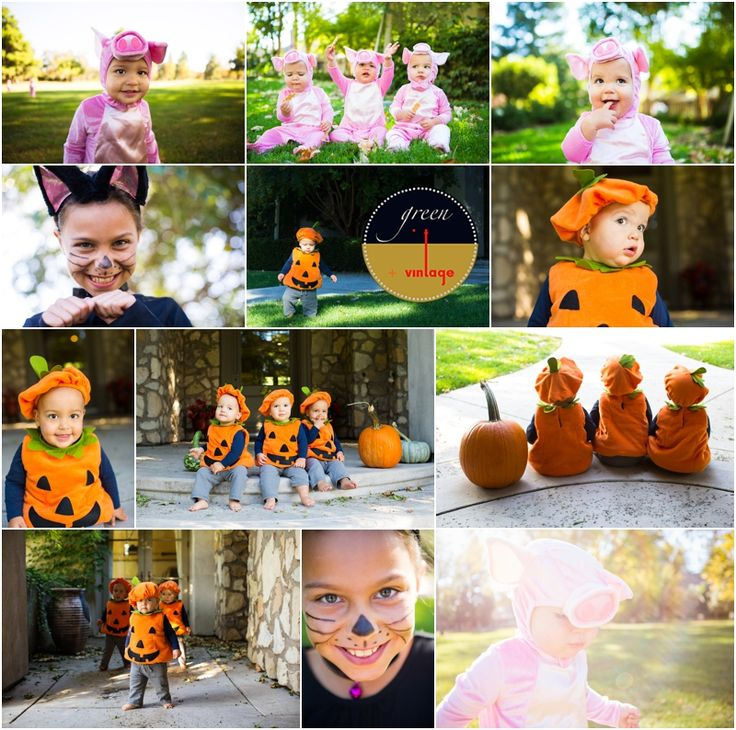 Halloween Costumes Triplets Photos – Davis Family Holiday Photographer