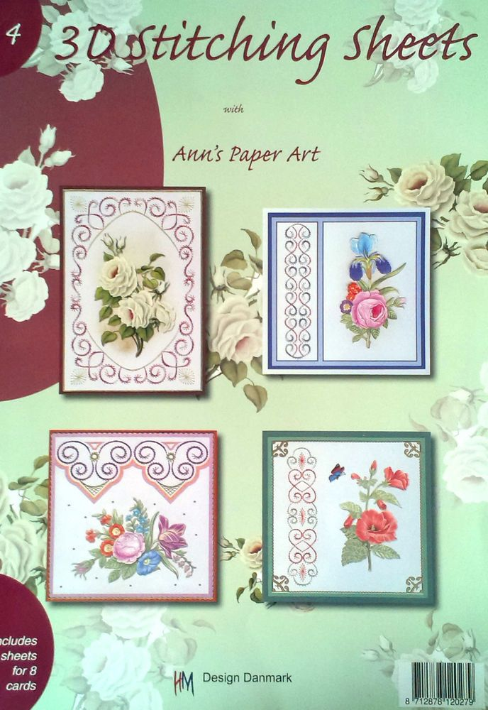 Ann s Paper Art 3d Stitching Sheets Book no.4 - includes 4 sheets for 8 cards