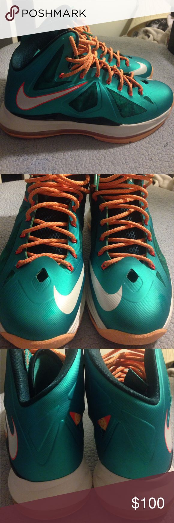 Lebron 10 Dolphin Editions Mint Condition Rarely Worn Plus They Are 4 Years Old Nike Shoes Sneakers