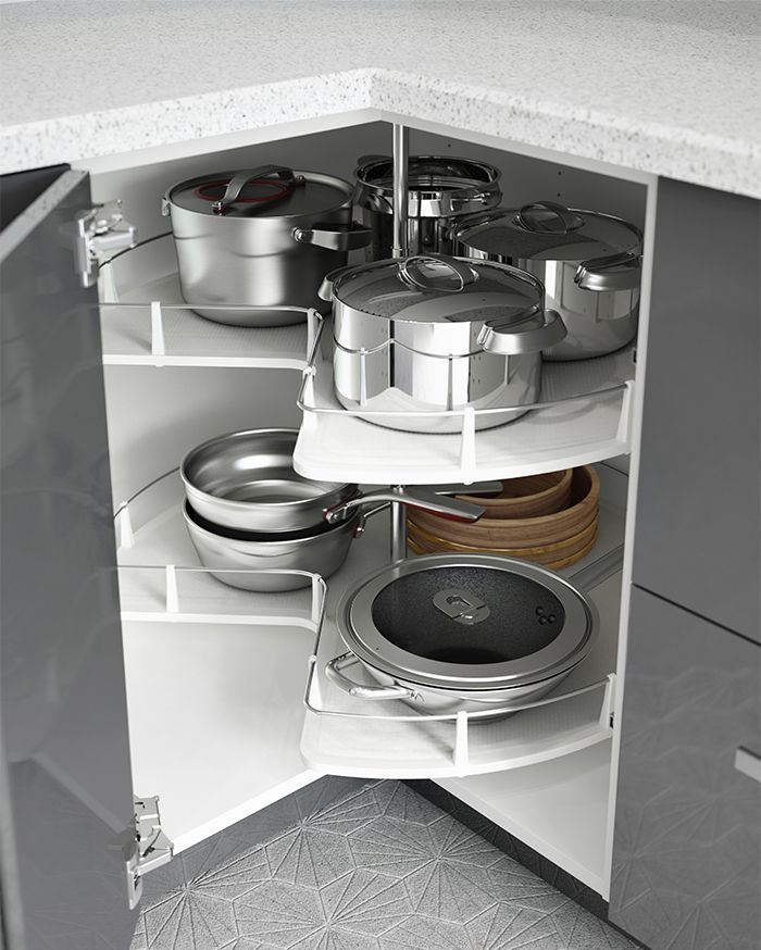 The secret to an organized kitchen? Interior organizers! IKEA cabinet carousels help to keep everything within reach so that your pots, pans and cookware are all exactly where you need them.