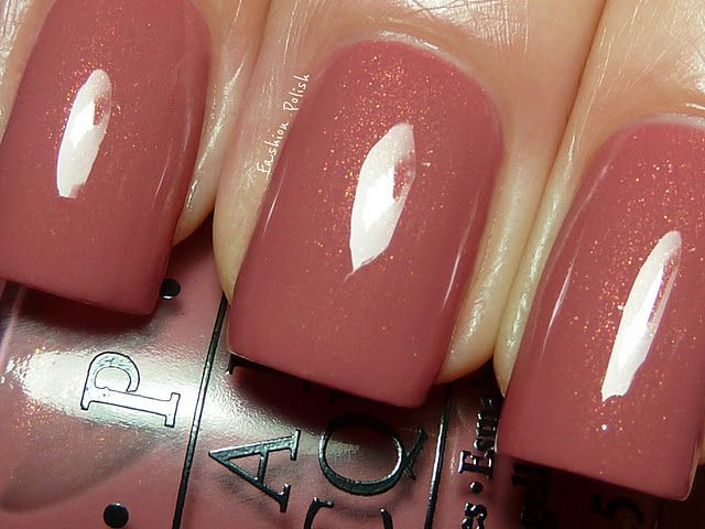 "opi ""gouda gouda two shoes"" - dusty rose-brown with pink/gold shimmer"