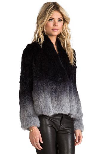 ELLIATT Angel Fur Jacket in Grey Dip Dye - Jackets & Coats