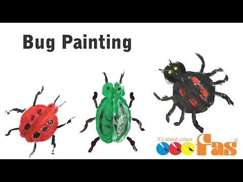(4) How to paint folded paper paintings of bugs, insects and ladybirds with FAS School Super Tempera - YouTube