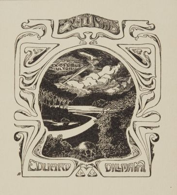 Bookplate by Botho Robert Schmidt for Eduard Dillmann, 1903