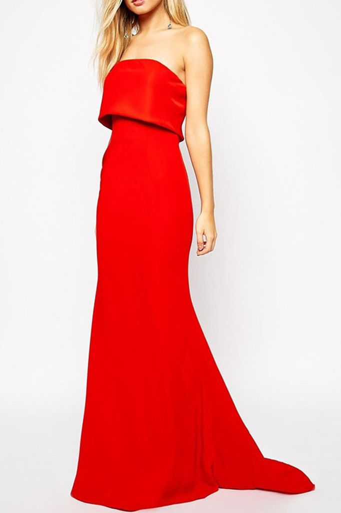Red Strapless Blazer Maxi Dress with Overlay