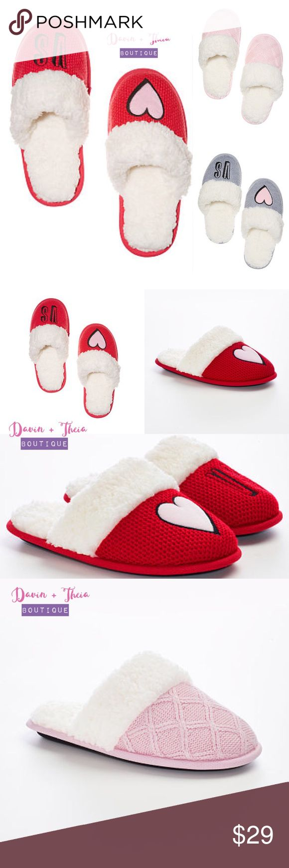 Victoria's Secret Cozy Slipper BRAND NEW  These embroidered knit slippers were made to keep toes toasty, with faux-fur trim and lining. * Diamond knit with faux-fur trim and lining * Embroidery at top * Rubber sole * Imported viscose/nylon/polyester * Sizes S(5-6), M(7-8), L(9-10), XL(11-12) * Hand wash  Available Size: L(9-10) Available Color: Red, Pink, Gray(Arriving Soon)  Please ask questions before purchasing. PRICE is FIRM 10% OFF BUNDLE NO Trades Victoria's Secret Shoes Slippers