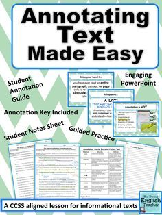 Teach your middle and high school students all about annotating a text with this CCSS aligned annotation lesson for informational text.