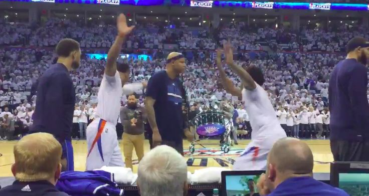 Watch as Villanueva tries to disrupt the now-famous pregame dance routine that's become a staple before every contest for Thunder PGs Russell Westbrook and Cameron Payne.